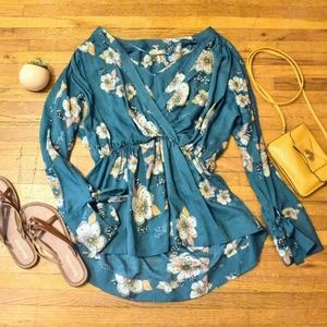 Free People Tuscan Dreams Teal Floral V-Neck Tunic